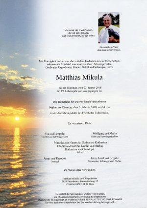 Portrait von Herr Matthias MIKULA