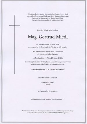 Portrait von Neulengbach Frau Mag. Gertrud Miedl