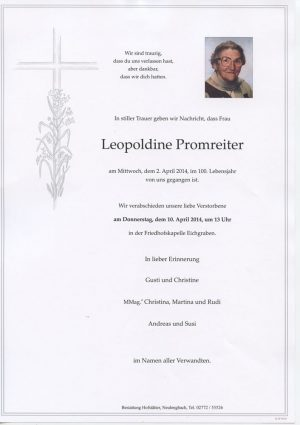 Portrait von Eichgraben Frau Leopoldine Promreiter