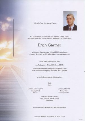 Portrait von Eichgraben Herr Erich Gartner