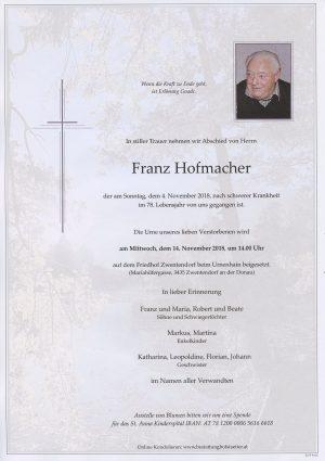 Portrait von Zwentendorf -Kirchstetten Herr Franz HOFMACHER
