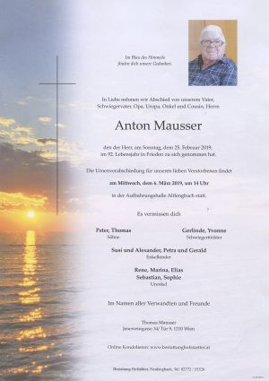 Portrait von Altlengbach – Herr Anton Mausser