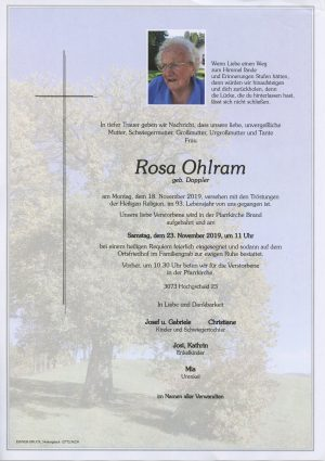 Portrait von Brand-Laaben – Frau Rosa Ohlram