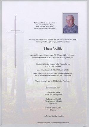 Portrait von Ollersbach – Herr Hans Voitik