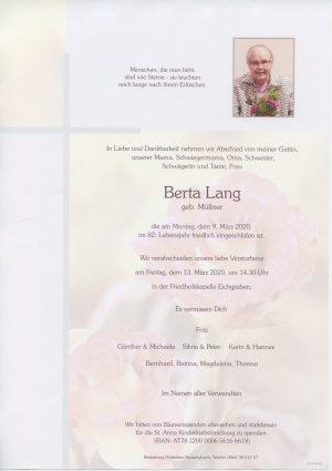 Portrait von Eichgraben – Frau Berta Lang