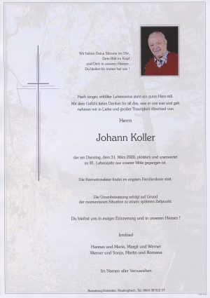 Portrait von Tullnerbach – Herr Johann Koller