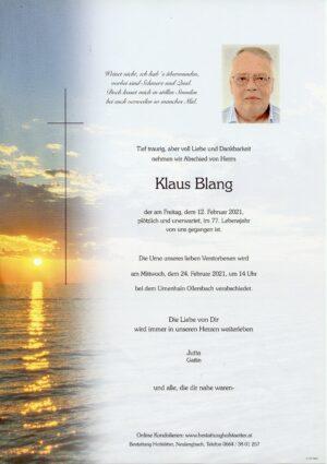 Portrait von Ollersbach – Herr Klaus Blang