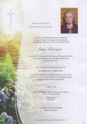 Portrait von Neustift-Innermanzing – Frau Anna Kotrnetz